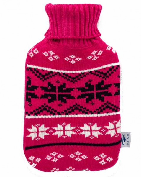Hot water bottle with cover - pink - 33 x 20 cm