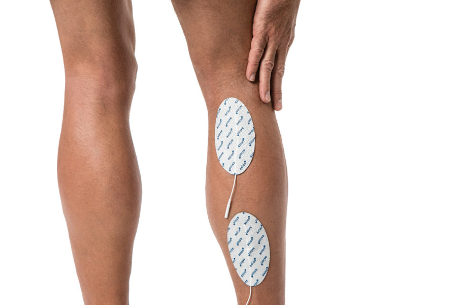 TENS-application-calf-pain-electrodes