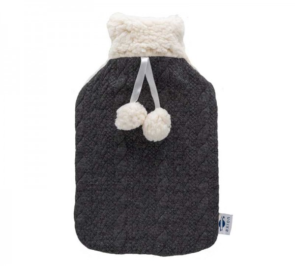 Hot water bottle with cover - black and white - 33x20 cm
