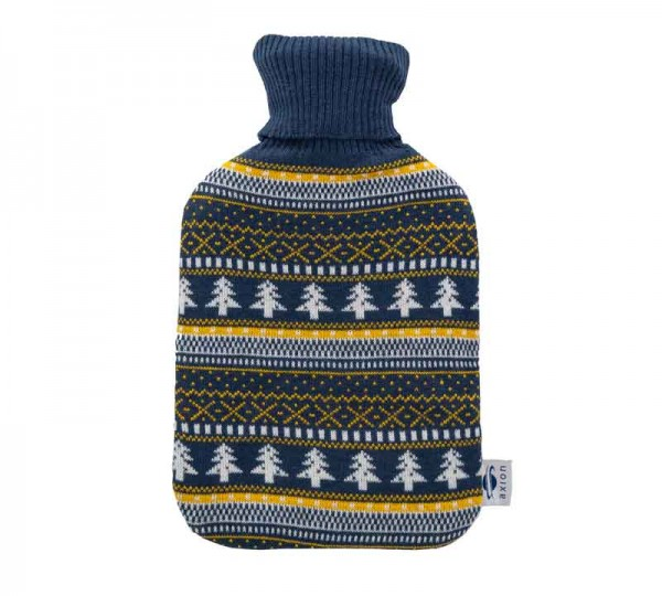 Hot water bottle with cover - dark blue - 33x20 cm
