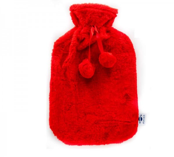 Fluffy hot water bottle with cover - red - 33x20 cm