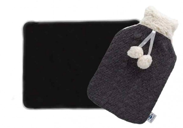 Moor pillow + hot water bottle with cover - black and white