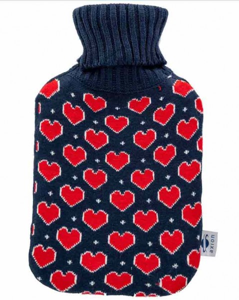 Hot water bottle with cover - in blue knitted fabric with hearts - 33x20 cm