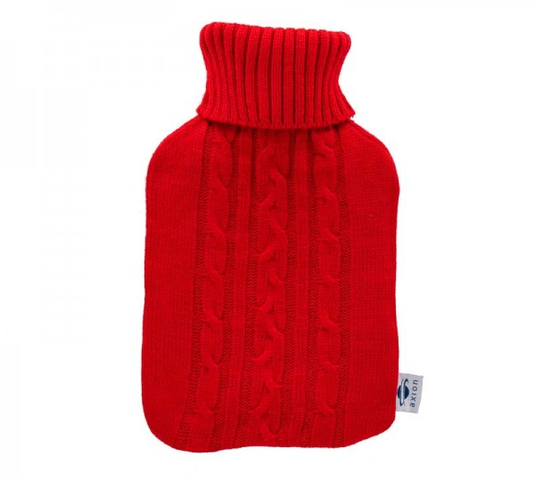 Hot water bottle with cover - red - 33x20 cm