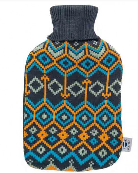 Hot-water bottle with cover - dark blue knitted fabric in diamond pattern - 33x20 cm